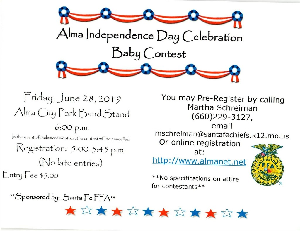 2019 Alma 4th of July Baby Contest Flyer