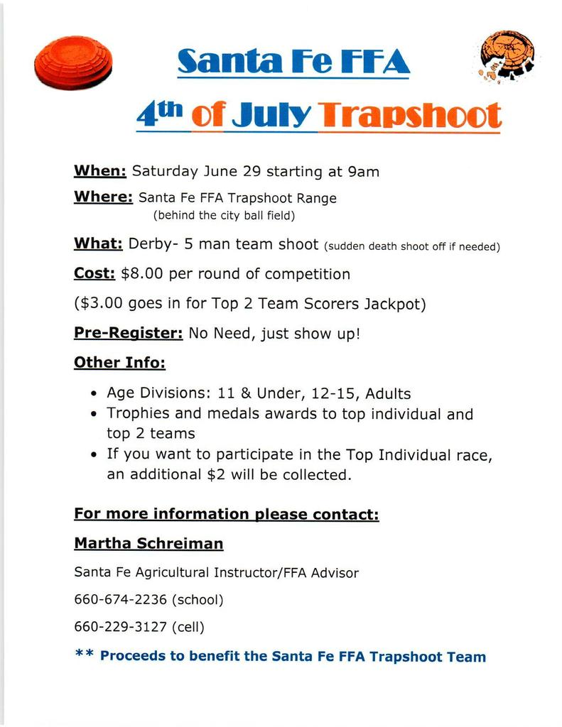 Alma 4th of July Trapshoot Flyer