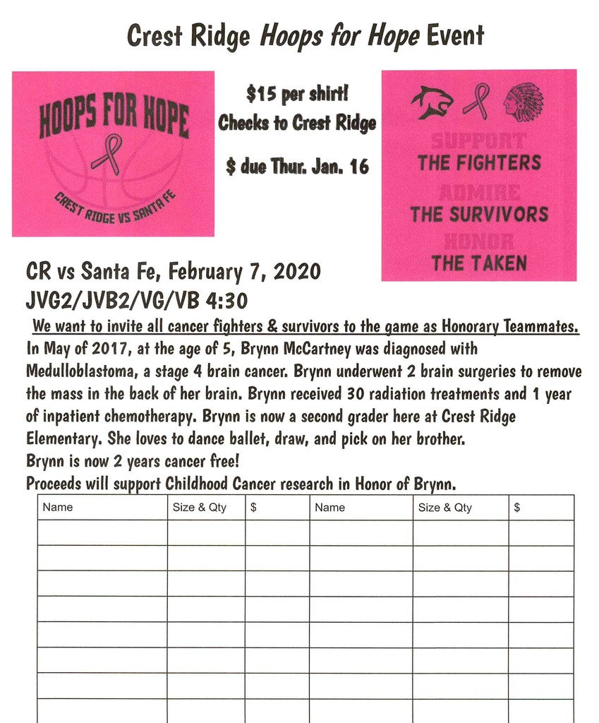 Hoops for Hope Order Form